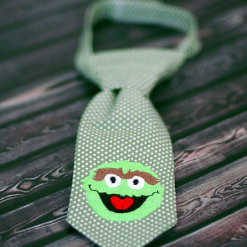 Little Guy Tie - Sesame Street Oscar the Grouch Tie - Pre-Tied with Adjustable Velcro Closure - Infant through 8 Years