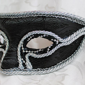 Men's Black Brocade Masquerade Mask with Silver Trim