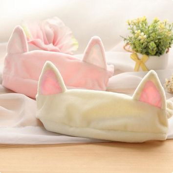 Hot Sale Cat Ear Headband Women Hair Accessories Wash Shower Cap Head Ornaments Elastic Hair Band Headband