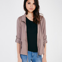 Soft Utility Jacket With Roll Cuff Sleeves | Wet Seal