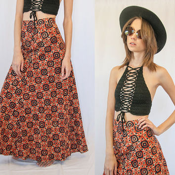 1970s High Waisted Ethnic Boho Maxi Size XS Small 24 25 | Hippie Batik Retro Psychedelic A-Line Long Bohemian Skirt 60s Festival Gypsy Skirt