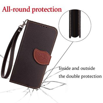 For Vodafone smart turbot 7 Luxury Leather Cover Flip Wallet Phone Case With Leaves Buckle And Lanyard Mobile Phone Shell