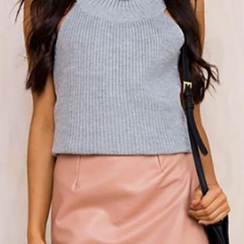 Going For It Pink High Waisted Faux Leather Mini Skirt
