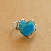 Blue Turquoise Heart Ear Cuff Aire Wrapped Ear Cuff
