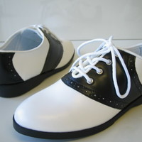 1950S 50'S LADIES OXFORD SADDLE SHOES BLACK WHITE GREESE RETRO COSTUME SHOES