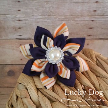 Dog Collar Flower // Orange Stripes // Orange Flower // Pet Accessory // Bling Flower // Hair Accessory // Fabric Flower // Dogs // Preppy