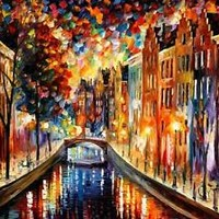 "AMSTERDAM — NIGHT CANAL — Oil Painting On Canvas By Leonid Afremov.  40""x30"""