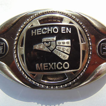 Hecho En Mexico Made in Mexico Spinner Spinning Latin America Aguila Eagle head Belt Buckle