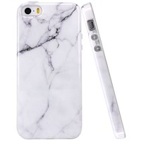 iPhone 5 Case, iPhone 5S Case, JAHOLAN White Marble Design Slim Shockproof Clear Bumper TPU Soft Case Rubber Silicone Skin Cover for Apple iPhone 5 5S SE