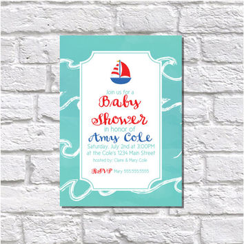 Sailboat Nautical Baby Shower Printable Invitation - Digital File