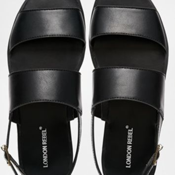 London Rebel Lush Strap Flat Sandals at asos.com