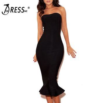 INDRESSME 2019 Sexy Women Strapless Sleeveless Backless Elegant  Bandage Dress Bodycon Club Party Dress Summer Chic INS Bodycon