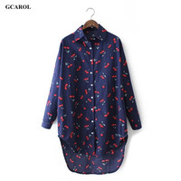 Cherry Printed Long Shirt Fashion Casual Asymmetric Length Blouse Oversized