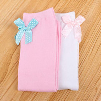 Newest Solid Color Children Silk Bowknot Knee-high Girls In Tube Leg Warmers