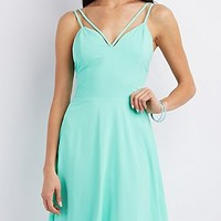 Strappy V-Neck Skater Dress