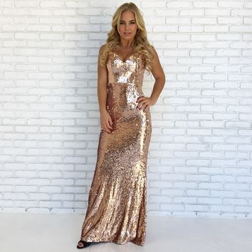 Ballroom Beauty Sequin Maxi Dress in Rose Gold