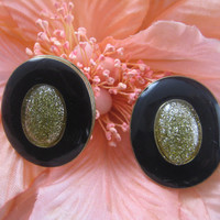 Vintage Earrings, Black with Gold Glitter center, Clip On Earrings, Costume Earrings
