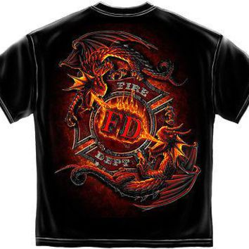 New YING YANG FIRE DEPARTMENT DRAGON FIREFIGHTER T-SHIRT
