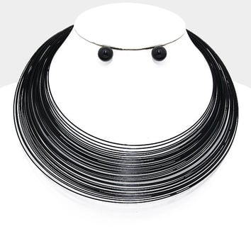 "16"" black multi row bib choker collar wire necklace .50"" earrings"