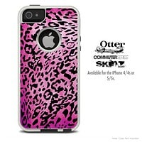 The Hot Pink Leopard V4 Skin For The iPhone 4-4s or 5-5s Otterbox Commuter Case