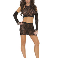 Lace Mini Skirt Halter Set