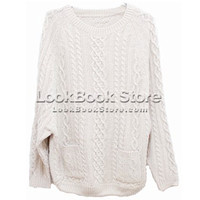 Womens Twin Patch Pockets Long Sleeved Chunky Cable Knit Sweater Jumper Knitwear