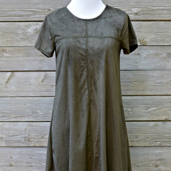 Scalloped Suede Shift Dress - Olive