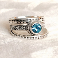 Sterling Silver Stackable Rings w/ Blue Aquamarine Stone