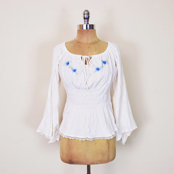 Vintage 90s 70s Mexican Blouse Mexican Top Mexican Shirt Mexican Tunic Mexican Embroider Blouse Angel Sleeve Gauze Lace 70s Hippie Boho M