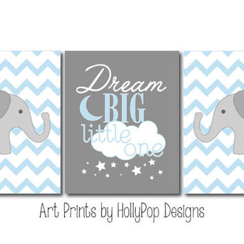 Dream Big Little One Set of 3 Prints Boys Room Nursery Wall Decor Art Prints Elephant Chevron Decor Inspirational Childrens quote Blue Gray