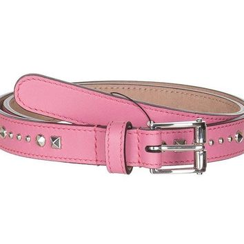 ONETOW Gucci Women's Pink Studded Leather Slim Belt