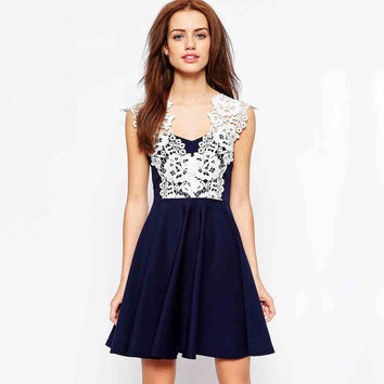 Dark Blue And White Lace Dress