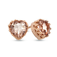 6.0mm Heart-Shaped Simulated Morganite Doublet Crown Earrings in Sterling Silver with 14K Rose Gold Plate