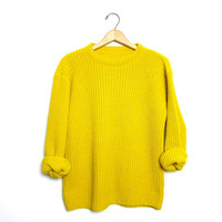 Slouchy 80s Loose Knit Yellow Sweater Chunky Boho Grunge Pullover Women Medium