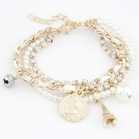 Shining Diamond Tower-shaped and Pearl Multi-layer Bracelet with Weaving Strings, Women's Fashion Jewelry, Lady-wearing Jewelry 11041265
