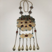 163.6 Grams Old Vintage Afghan Turkmen Tribal Gold-Gilded Carnelian Necklace, TN