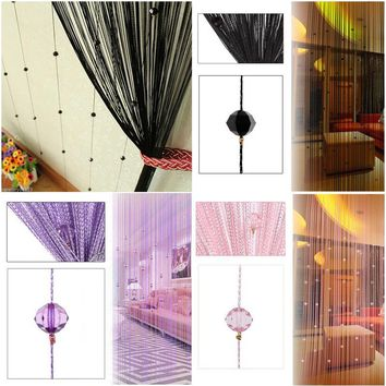 NK DECORATION Chic Beaded Curtain Crystal Divider Decorative String Door Window Room Divider Blind Panel Imitation Silk Curtain