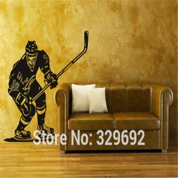 Vinyl Wall Sticker Ice Hockey Sport Player NHL Stick Puck Bedroom Decor Wall Decals tx-162
