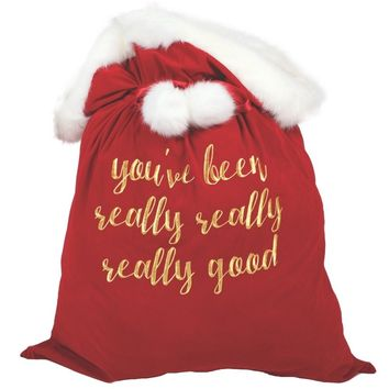 You've Been Really Good Velvet Santa Bag