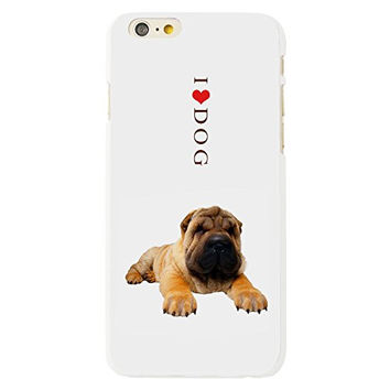 MINI KITTY Funny Cute Man's Best Friend Shar Pei Puppy Dog Cell Phone White Plastic Hard Case Cover for iphone 6 4.7 inch