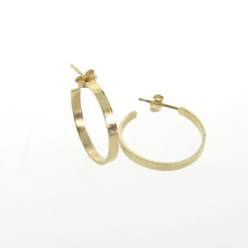 Gold Earrings, Gold Hoops, Small 14k Solid Gold Hammered Hoops With Posts