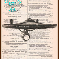 Enterprise Spaceship Black & White Drawing Art Vintage Dictionary Page Art Print Upcycled Page Print, Star Trek Print
