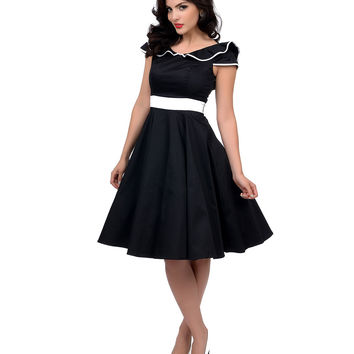 1950s Style Black & White Ruffle Collar Cap Sleeve Swing Dress