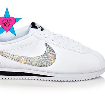 Custom White Crystal Kicks Nike Cortez Womens