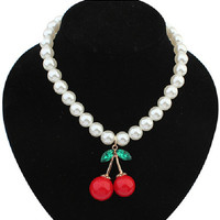 Red Cherry White Pearls Beaded Bib Necklace,Fashion Gift Necklace for Her,Women