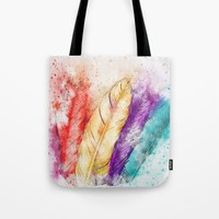 Watercolor Feathers Tote Bag by digitaleffects