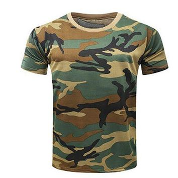 DCCKFS2 New Camouflage T-shirt Men Breathable Army Tactical Combat T Shirt Military Dry Camo Camp Tees Green