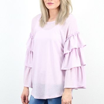 All the Frills Layered Ruffle Sleeve Basic {Lavender}
