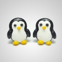 Penguin Earrings - Cute Antarctic Animal Jewelry Polymer Clay | PixieHearts - Jewelry on ArtFire