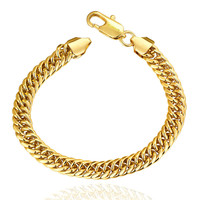 Men's 18K Gold Plated Brass Link Bracelet with Lobster Lock